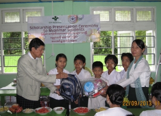 School Year 2013's EDF Scholarship Handover Ceremony in Myanmar